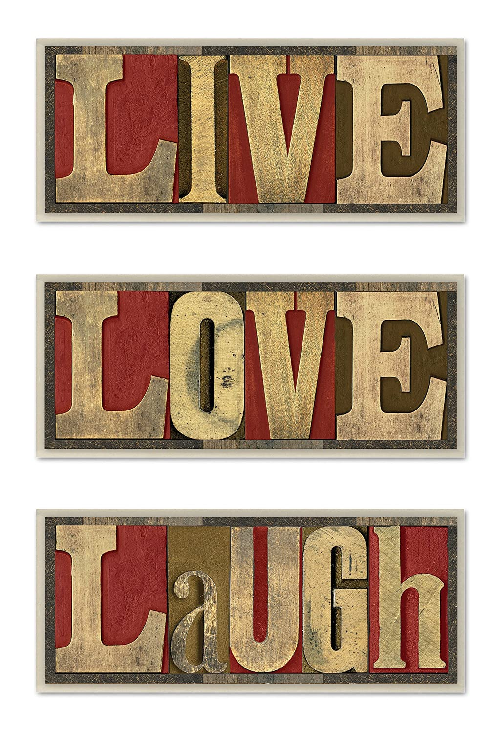 Stupell Home D/écor Live Love Laugh 3-Piece Wall Art Set 7 x 0.5 x 17 Proudly Made in USA Stupell Industries mwp-125 trio