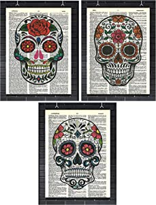 Sugar Skull Wall Decor Day of The Dead Set of (3) Mexican Sugar Skulls Dictionary Art Prints