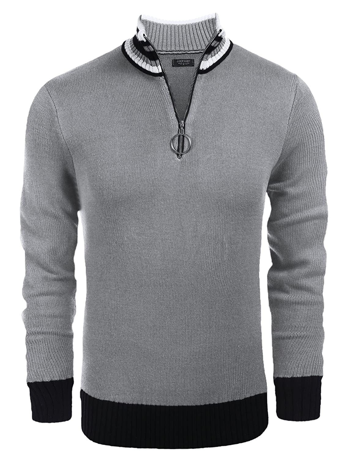 5749a0fdd COOFANDY Men's Casual Quarter Zip Pullover Sweater Slim Fit Long Sleeve  Polo Sweaters at Amazon Men's Clothing store: