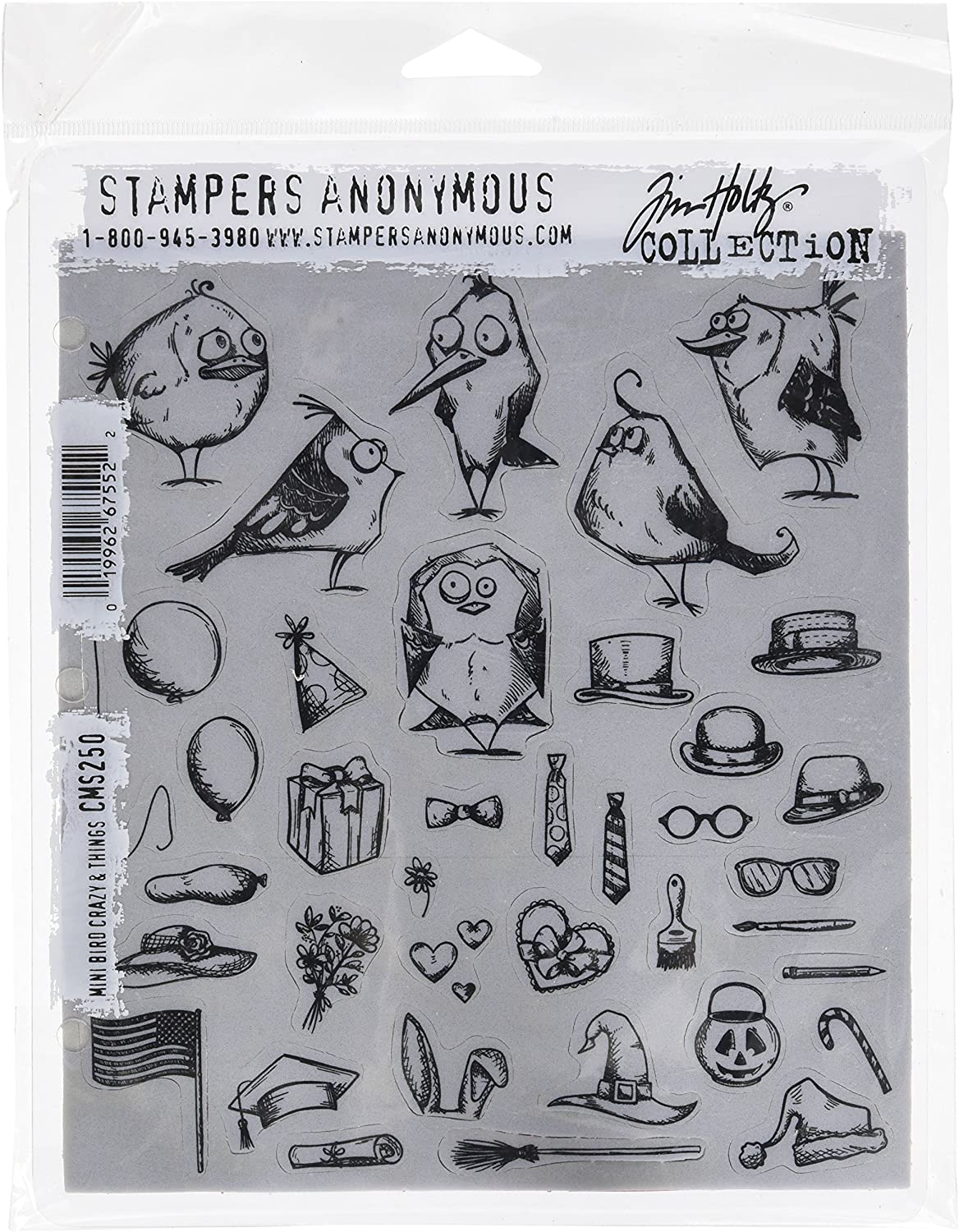Mehrfarbig Stampers Anonymous Tim Holtz Klebestempel 7 x 8.5 Zoll Mini Verr/ückte V/ögel und andere Dinge 24.5 x 19 x 0.5 cm Synthetic Material