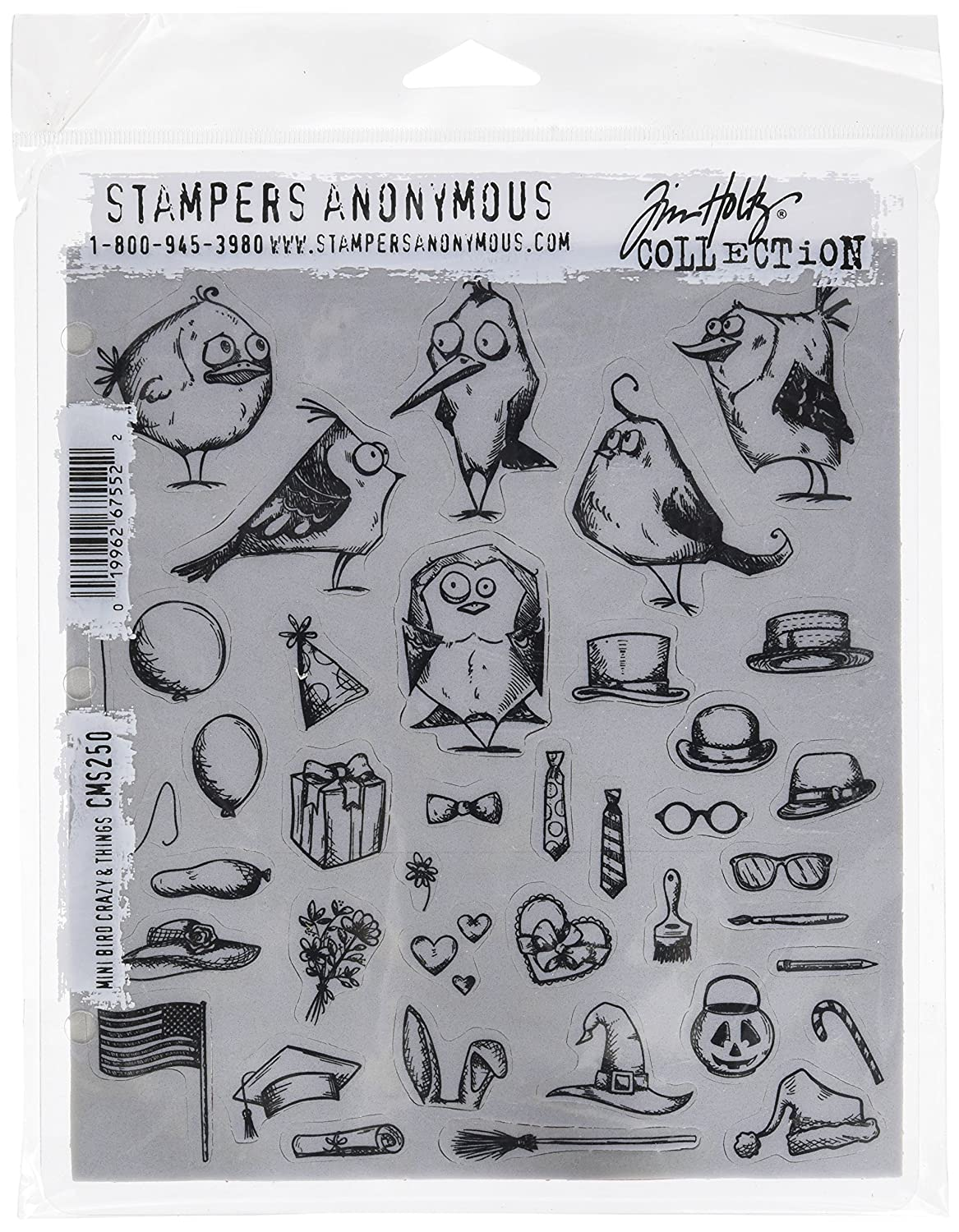 7 by 8.5 Stampers Anonymous CMS250 Mini Bird Crazy /& Things Tim Holtz Cling Stamps Clear