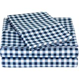 AmazonBasics Microfiber Sheet Set - Queen, Gingham Plaid