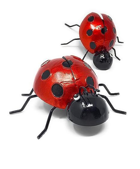 Metal Iron Wall Art Decor Nature Inspired Sculptures Indoor Outdoor Set Of  2 (Ladybug)