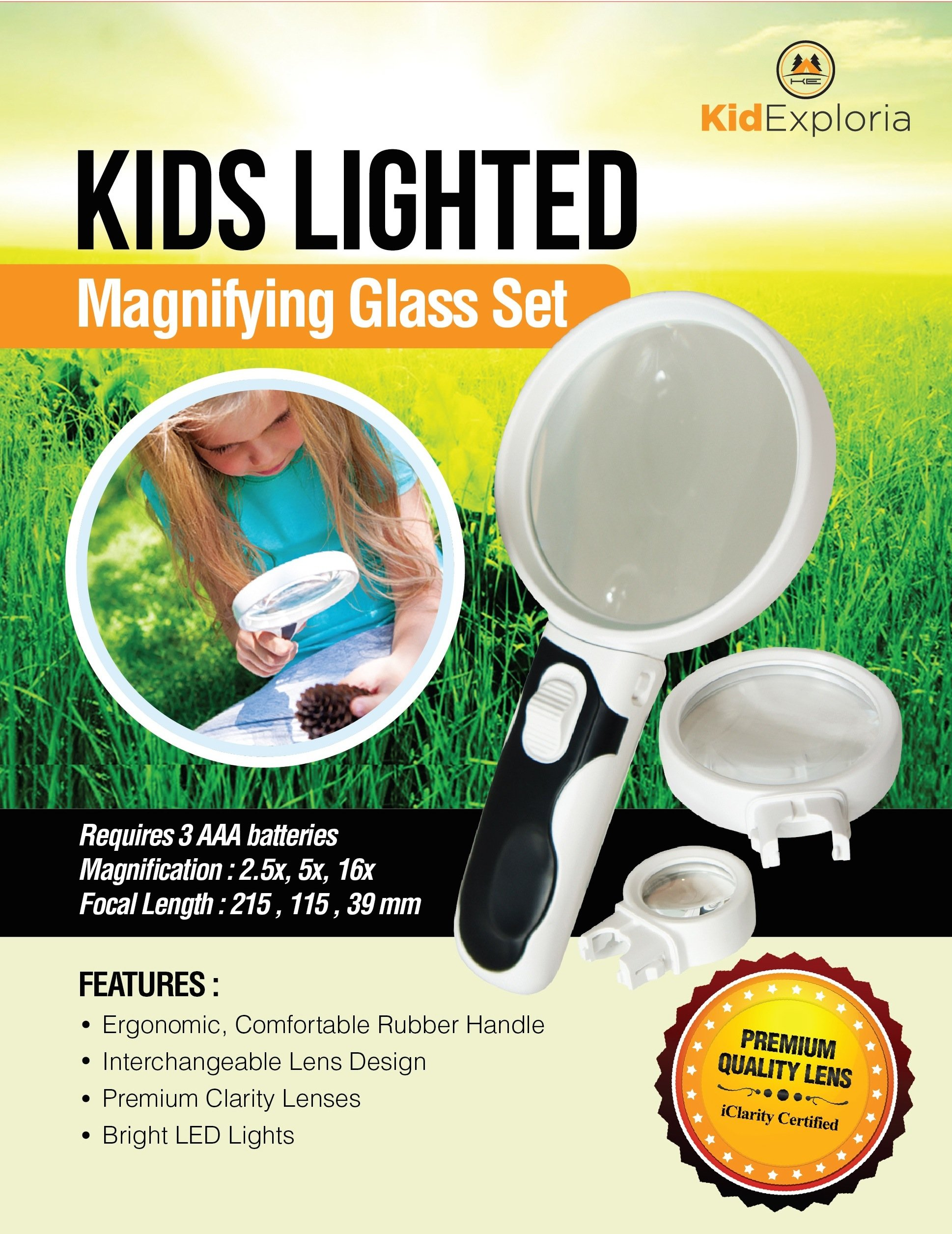 Kids Magnifying Glasses Set- Bright Lighted LED for Kid Clarity, Large Lens 2.5X + Smaller 5X & 16.5X Magnifiers Interchangeable