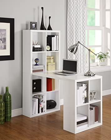 amazon com  white desk  u0026 bookcase combination with maximum storage      rh   amazon com