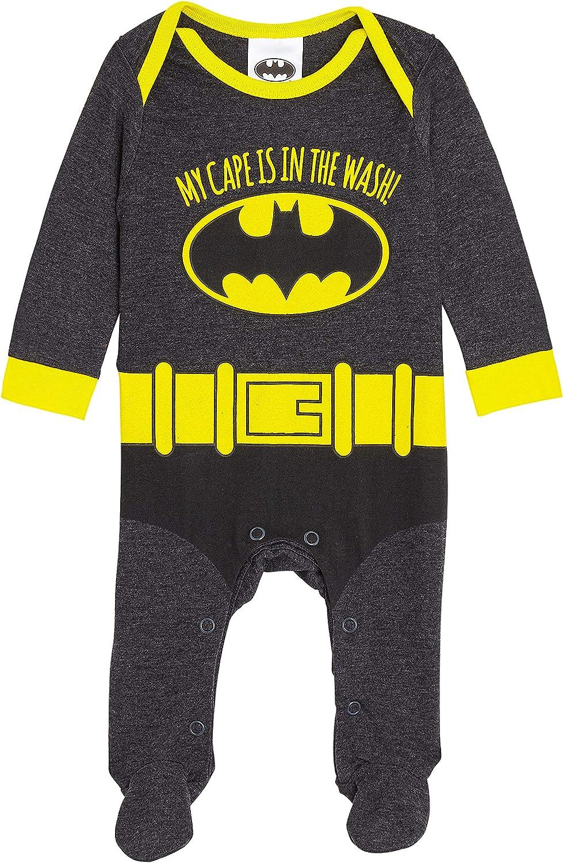 DC Comics Batman Disfraz Bebe Niño, Ropa Bebe Niño, Pijama Disfraz Superheroe, Bodies Bebe de Manga Larga con Pies, Regalos Originales para Recien Nacido a 18 Meses