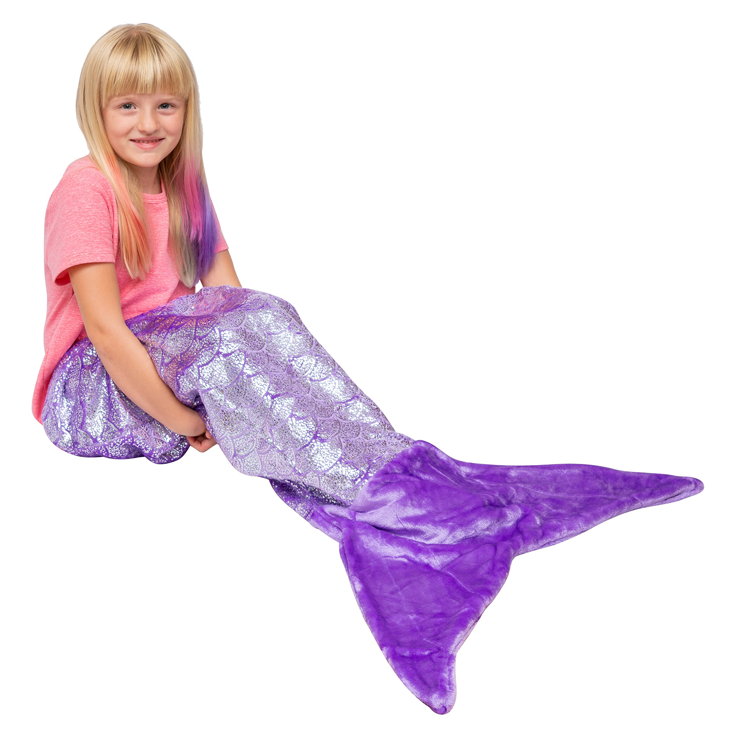PixieCrush Mermaid Tail Blankets (Child, Shiny Purple)