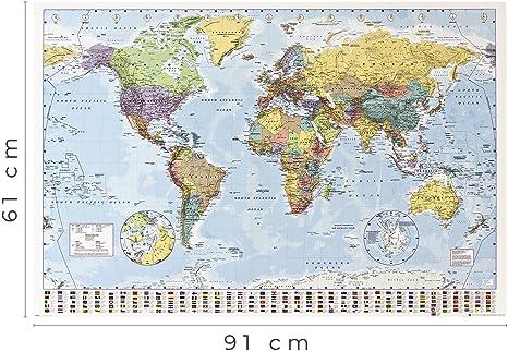 1art1 Mapas - Mapa del Mundo Político con Banderas Póster (91 x ...