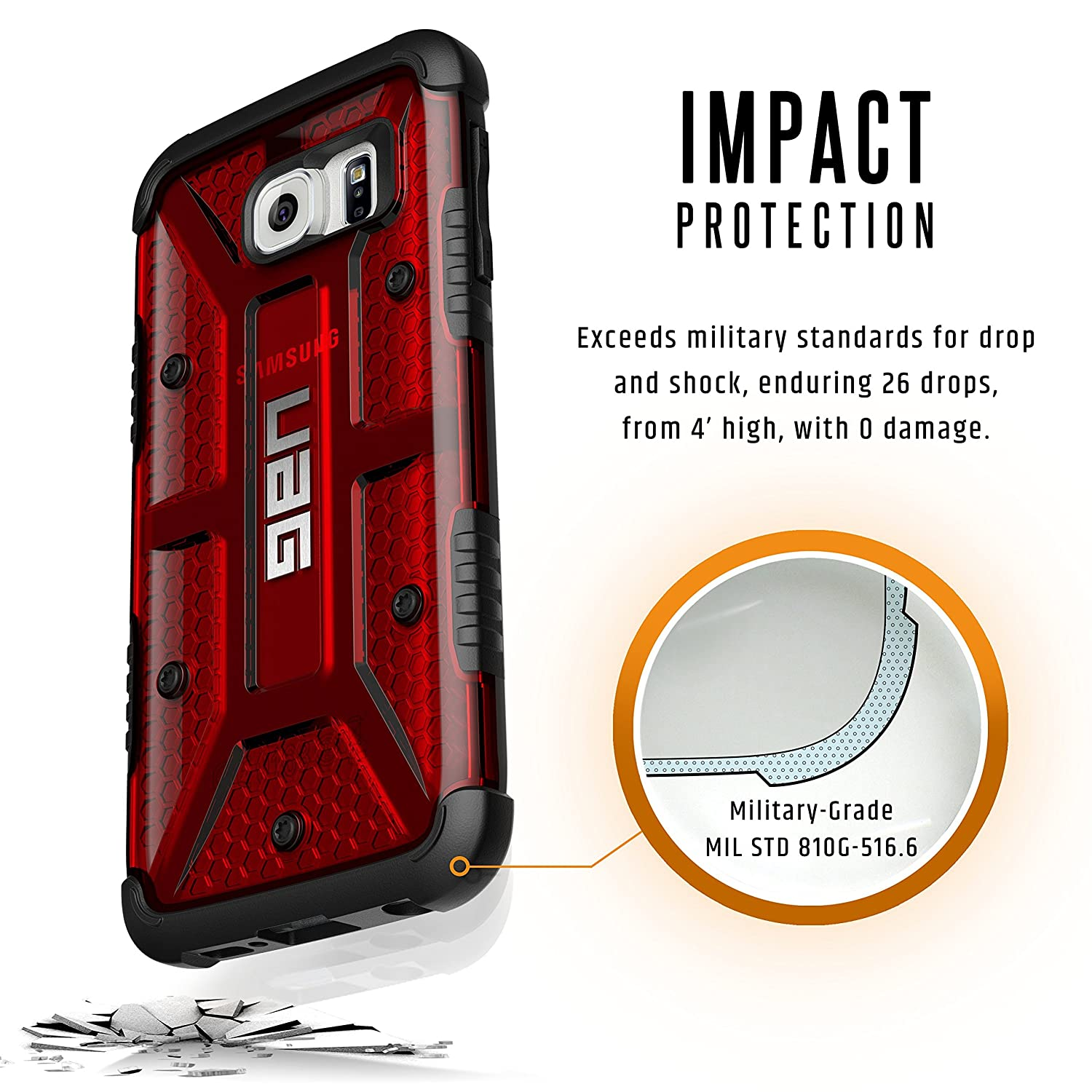 Galaxy s6 cases shop samsung cases online uag urban armor gear - Amazon Com Uag Samsung Galaxy S6 5 1 Inch Screen Feather Light Composite Magma Military Drop Tested Phone Case Cell Phones Accessories