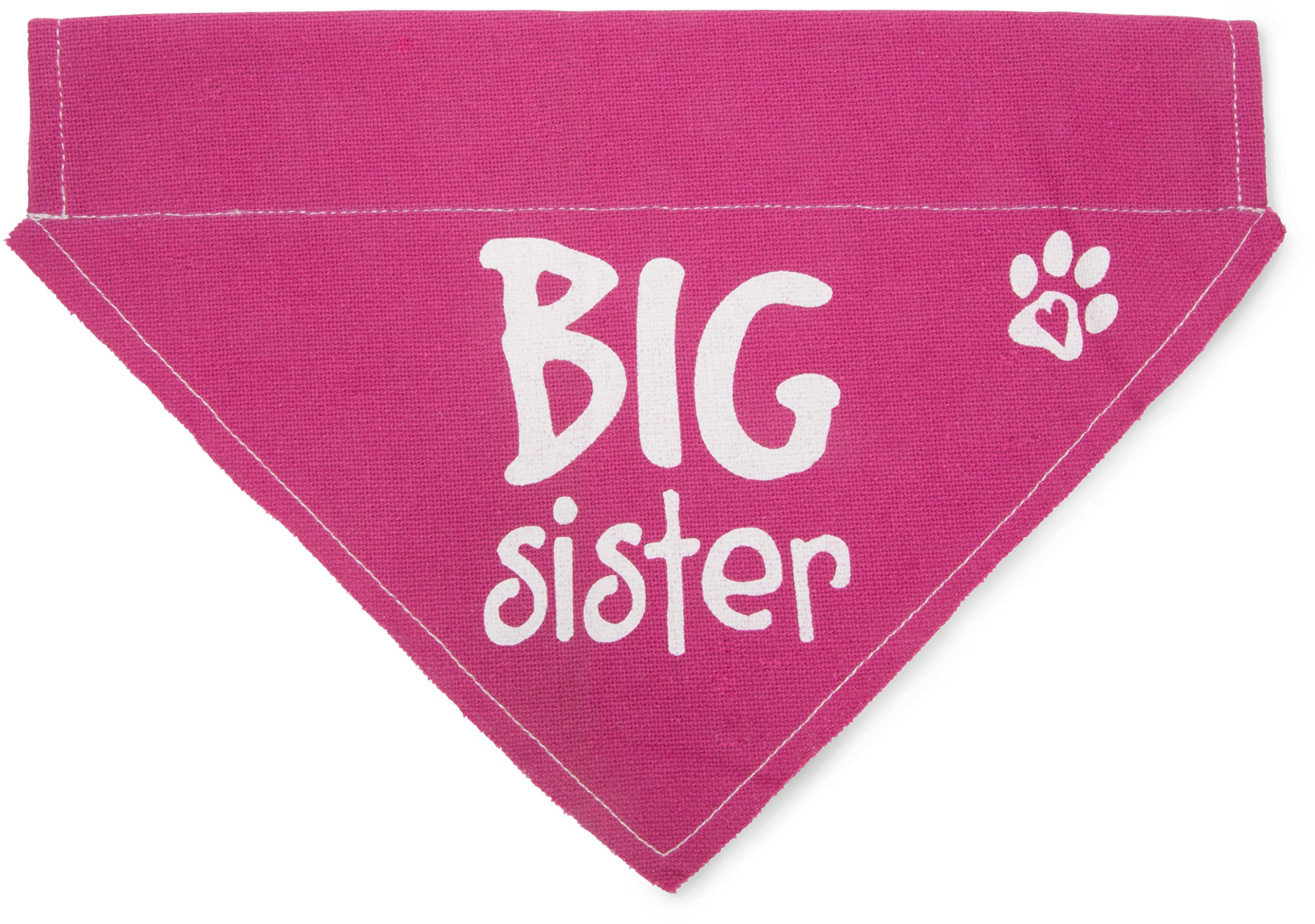 Pavilion Gift Company Big Sister Pink Paw Print Large Dog Slip on the Collar Bandanna