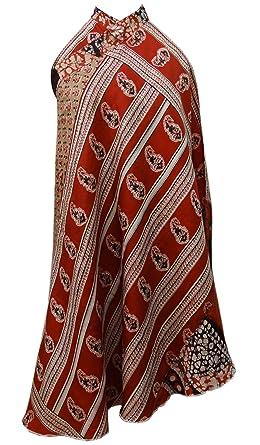 Pura Seda Batik de impresión Falda Ocasional Reversible Hippie ...
