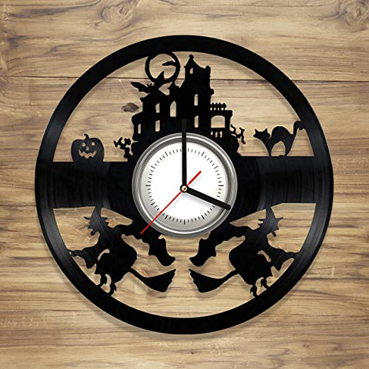 Amazon.com: DecorArt Studio Halloween Vinyl Wall Clock vinyl clock design Witch Horror Perfect gift Art Decorate Home Style UNIQUE GIFT idea for Him Her (12 ...