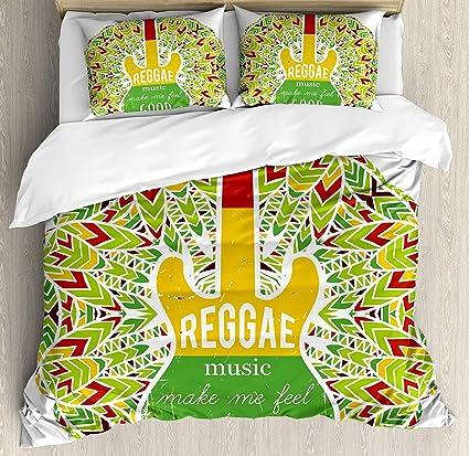 Duvet Cover Set Rasta Reggae Music Makes Me Feel Good Quote Jamaican Island  Culture Iconic Guitar 457937877