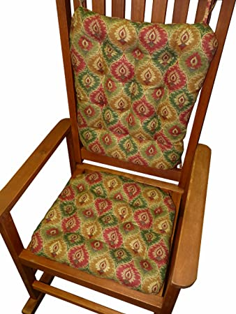 Rocking Chair Cushion Set   Miskala Ogee Christmas Red Green Candle Print    Standard Size