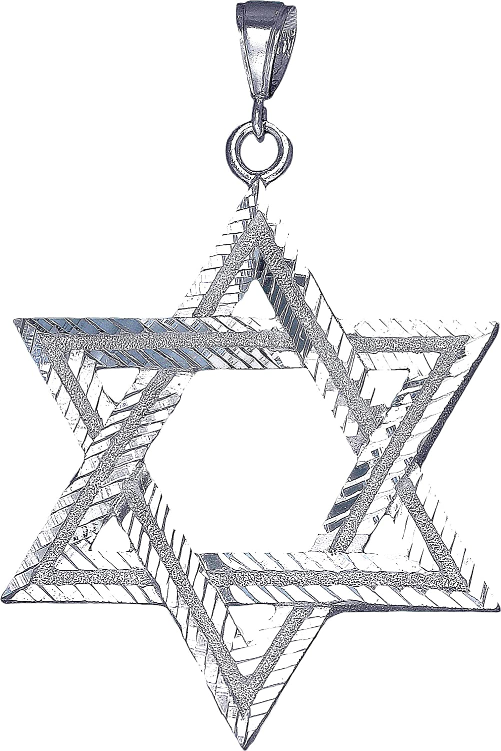 eJewelryPlus Sterling Silver Star of David Pendant Necklace with Diamond Cuts 24 Figaro Chain