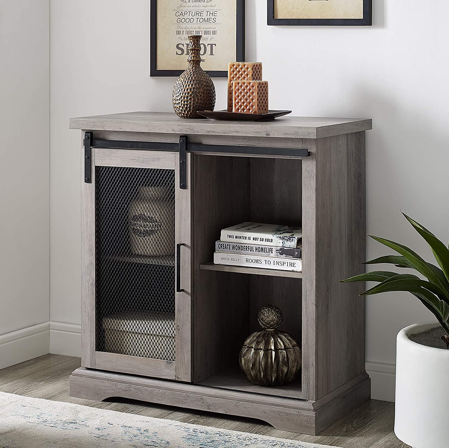 Walker Edison Industrial Farmhouse Buffet Entryway Bar Kitchen Dining Storage Cabinet Living Room, 32 Inch, Grey Wash