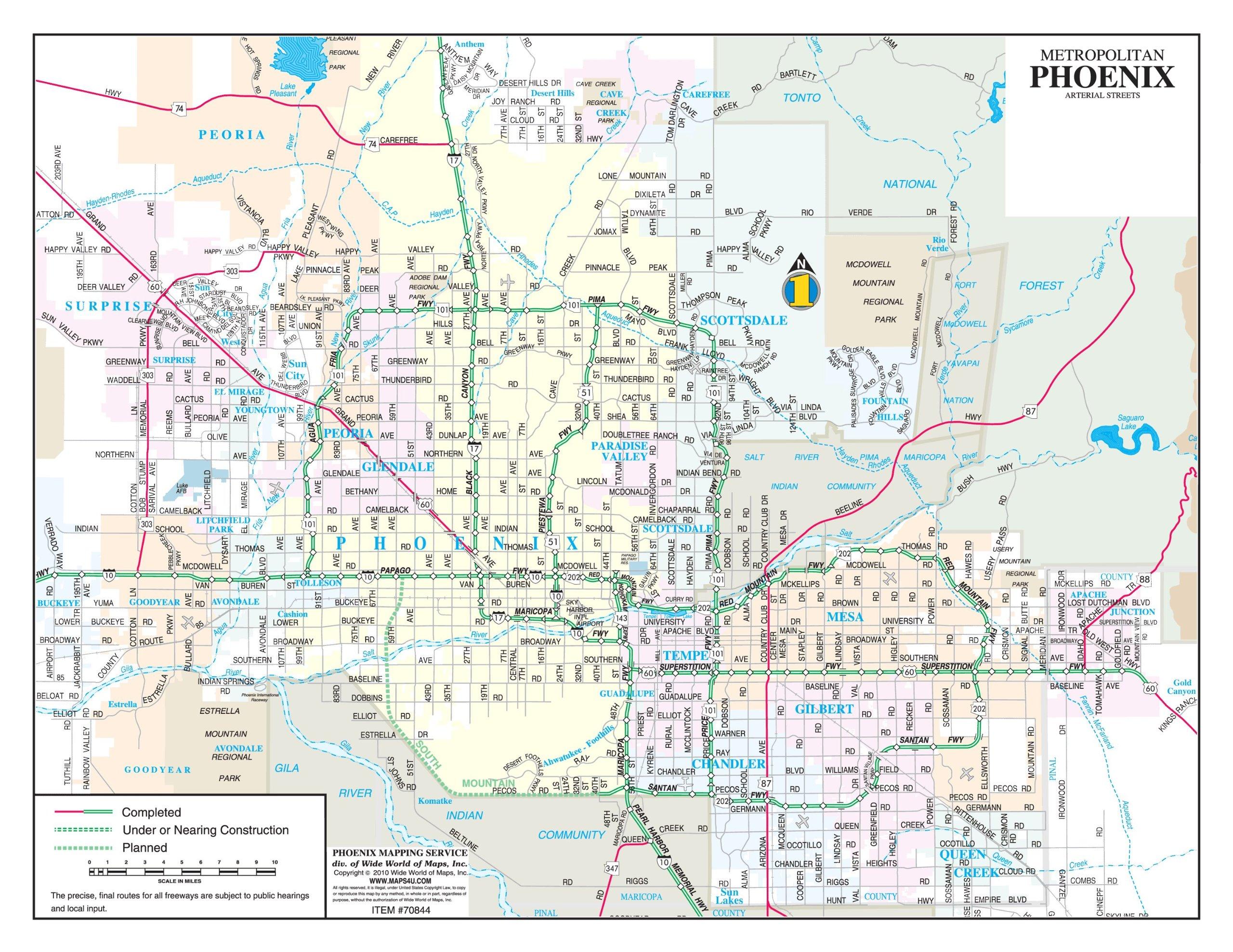 map of phoenix metro area Metropolitan Phoenix Arterial Streets Gloss Laminated Notebook Map map of phoenix metro area