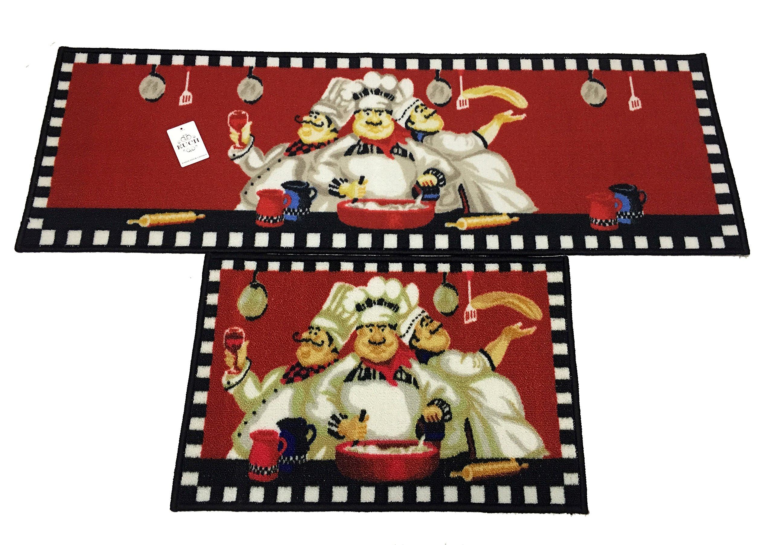 EUCH Non-slip Rubber Backing Carpet Kitchen Mat Doormat Runner Bathroom Rug 2 Piece Sets,15''x47''+15''x23'' (three chef) by EUCH (Image #2)
