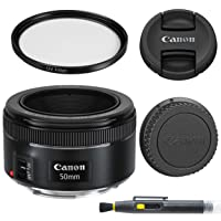 Canon EF 50mm f/1.8 STM: Lens with Glass UV Filter, Front and Rear Lens Caps, and Deluxe Cleaning Pen, Lens Accessory Bundle50 mm f1.8- International Version