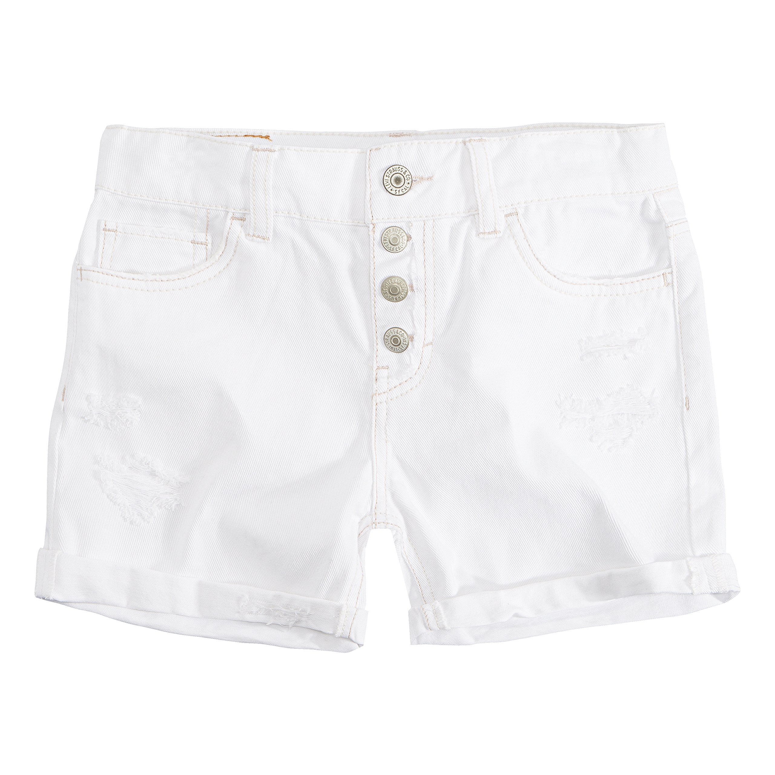 Levi's Girls' Big Girlfriend Fit Shorty Shorts, White, 10