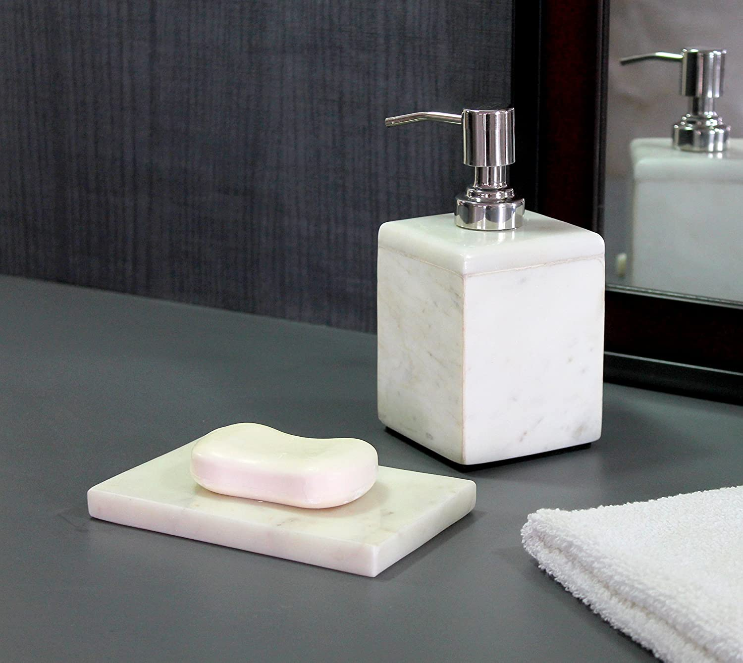 KLEO - Bathroom Accessory Set made from White Marble Stone - Bath Accessories set of 2 includes Soap Dispenser, Soap Dish