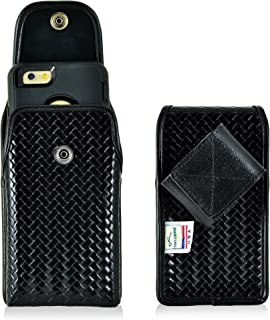 product image for Turtleback Holster Compatible with iPhone 6S+ Plus Samsung S7 Edge, Vertical Police Pouch, Snap Closure Black Basketweave Leather with Heavy Duty Rotating Belt Clip fits OB Defender