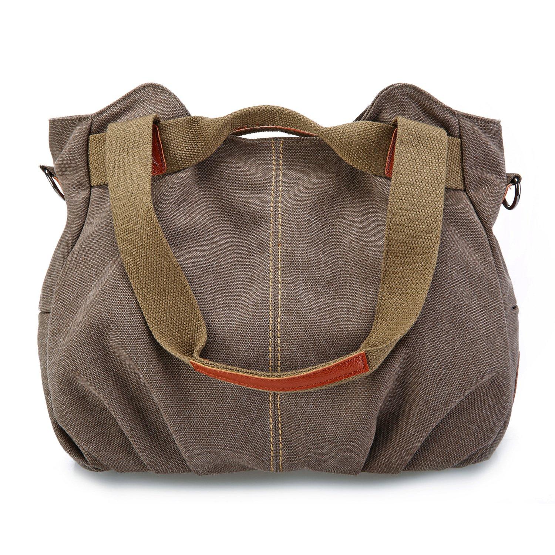 SCIEN Women's Casual Vintage Hobo Canvas Tote Bag Mulit-Pocket Daily Purse Shoulder Top Handle Handbags, Coffee