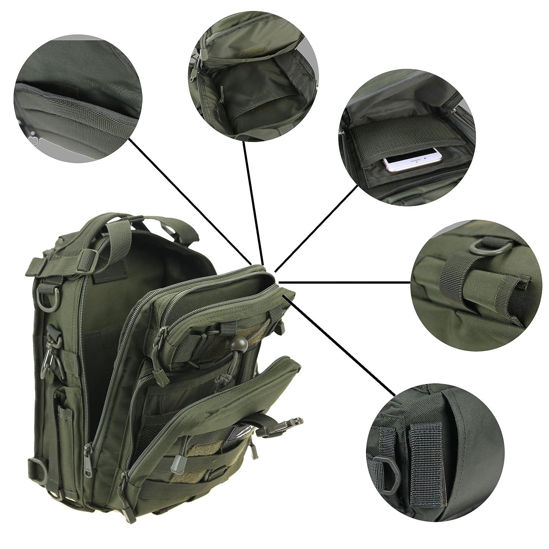 HETTO Sacoche Tactique Militaire Sling Peche Bag Sac Bandouliere Sac EDC Poitrine depaule Sac a Dos Peche Multifunction pour Homme Nous Camouflage Kaki Vert Noir
