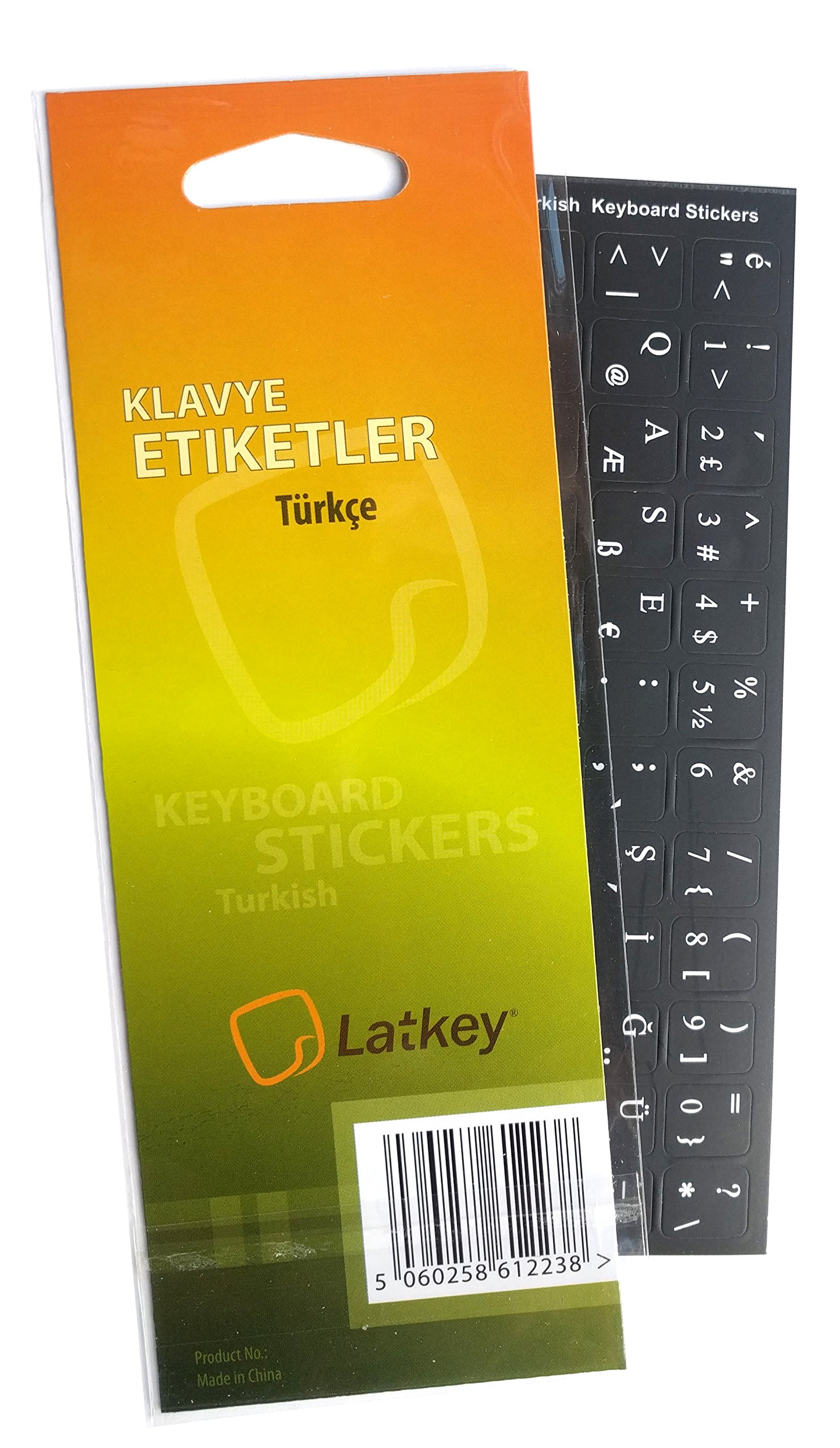 Turkish Keyboard Labels ON Transparent Background with RED Lettering 14X14