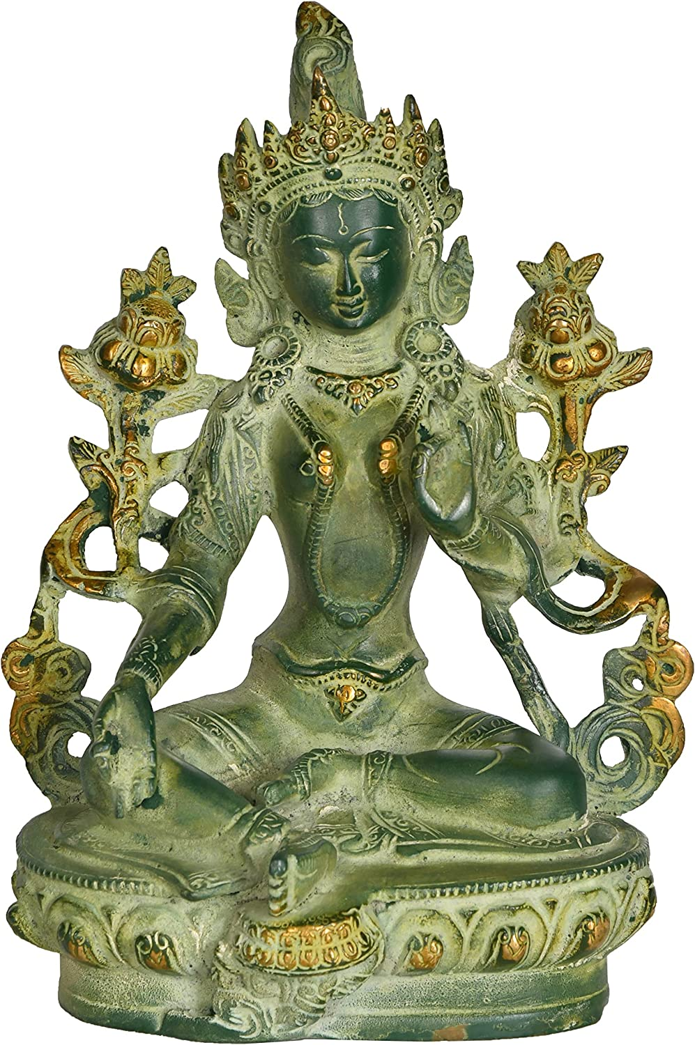Exotic India Green Tara, Who Saves You (Tibetan Buddhist Deity) - Brass Statue - Color Green Chola Color