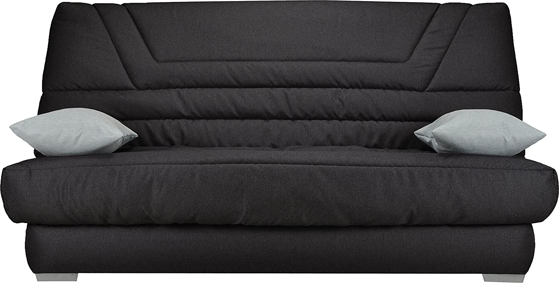 Destock Meubles Banqueta para sofá Cama Tela Gris Antracita - Colchón 130 x 190 Bultex Espuma HR: Amazon.es: Hogar