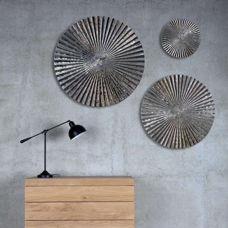 Inhouse Wanddekoration, 3 Stück, Stück, Stück, hochglanzpoliertes Aluminium, Kreise, Metall b338d7