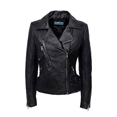 Ladies BRANDO 2588 Black Biker Style Motorcycle Soft Napa Italian Leather Jacket