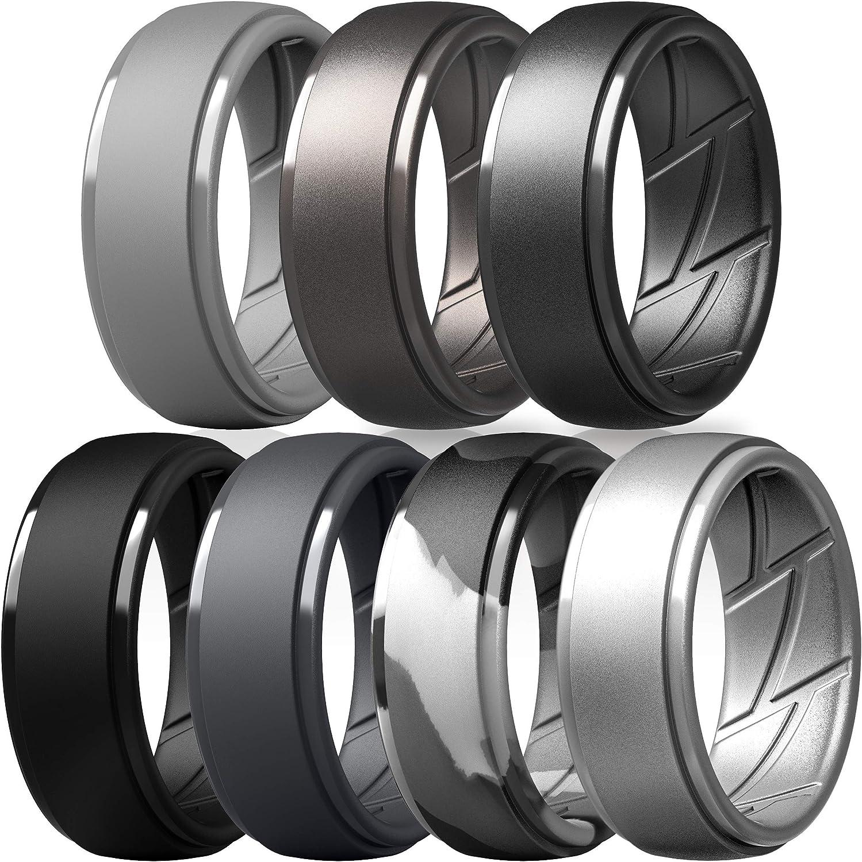 Light Grey, Metallic Platinum, Brass, Black, Dark Grey, Grey Camo, Silver, 11.5-12 21.3mm ThunderFit Silicone Wedding Rings for Men -