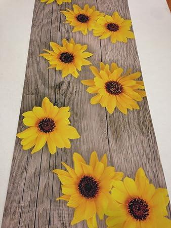 LaVelaHOME Teppich Küche 52 x 240 Sonnenblume Holz Vintage ...