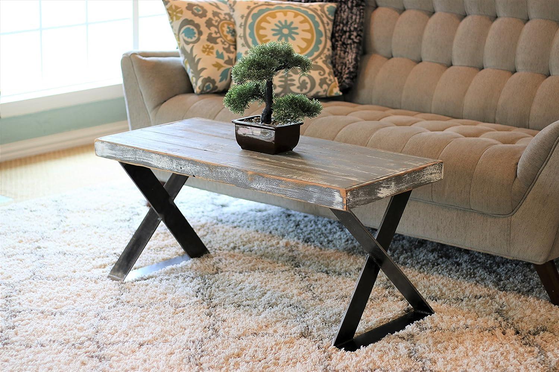 Amazon Com Weathered Gray X Leg Industrial Coffee Table Handmade