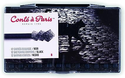 8 x Conte a Paris Sketching Crayons Noir Noir HB