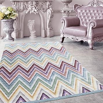 SIMPEX Hochwertiger Teppich Vintage Stil Geometrisch Moiré Und Fransen, 5  Groessen Grau Blau Gelb Pink