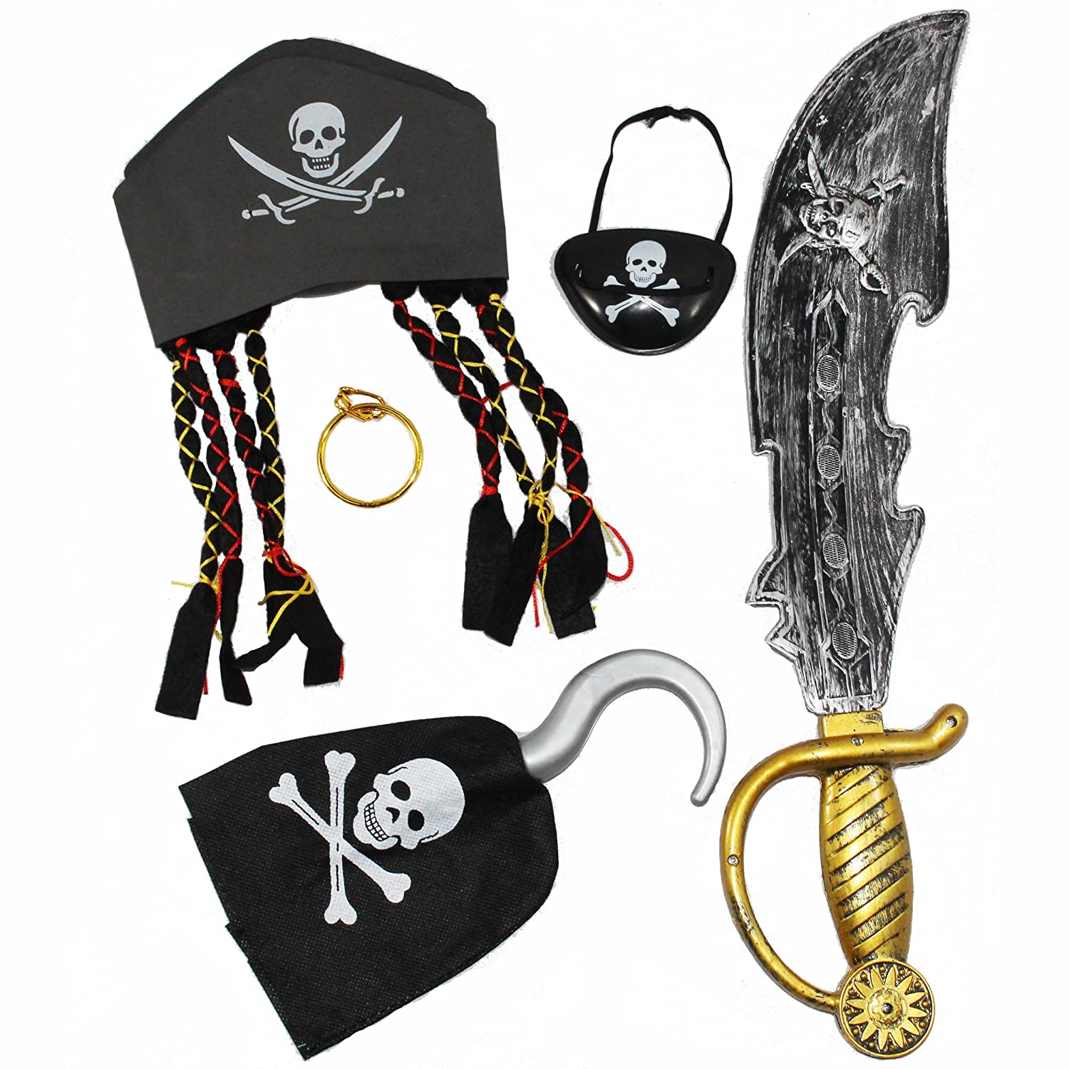 Joyin Toy Halloween Pirate Costume Set Including Hat, Eye Patche, Sword, Ear Ring and Hook