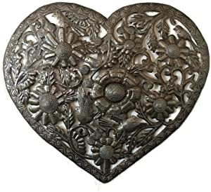 Haitian Metal Heart Wall Decor, Floral Decoration of Love and Friendship, Wall Hanging Plaque, Peace, Handmade in Haiti, 18 In. X 16 In. (Floral Heart)