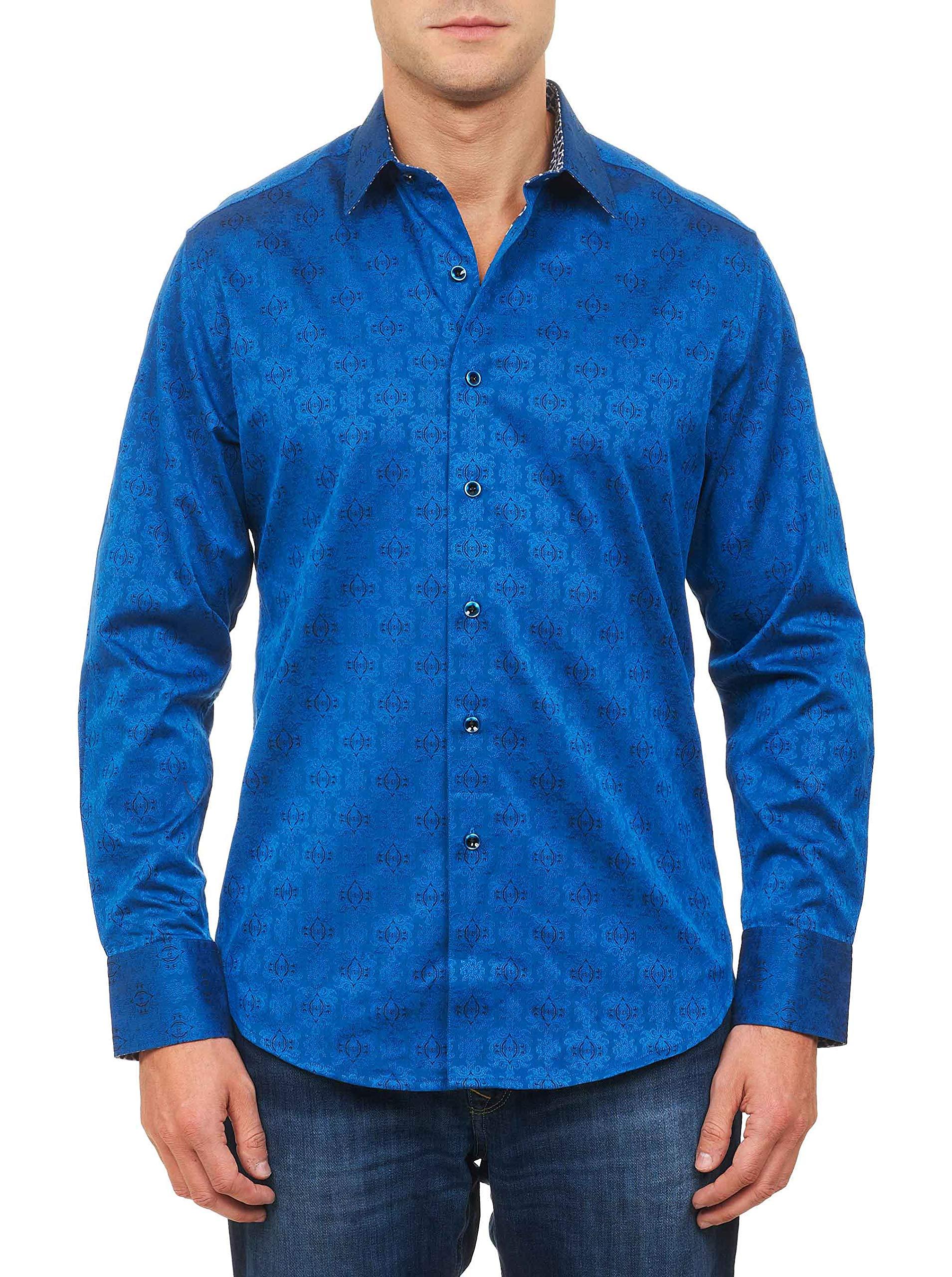 Robert Graham Men's Cullen Long-Sleeve Button-Down Shirt, Navy X-Large