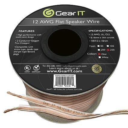 GearIT Pro Series 12 AWG Gauge 12 AWG CL2 OFC In Wall Speaker Wire 100 Feet...