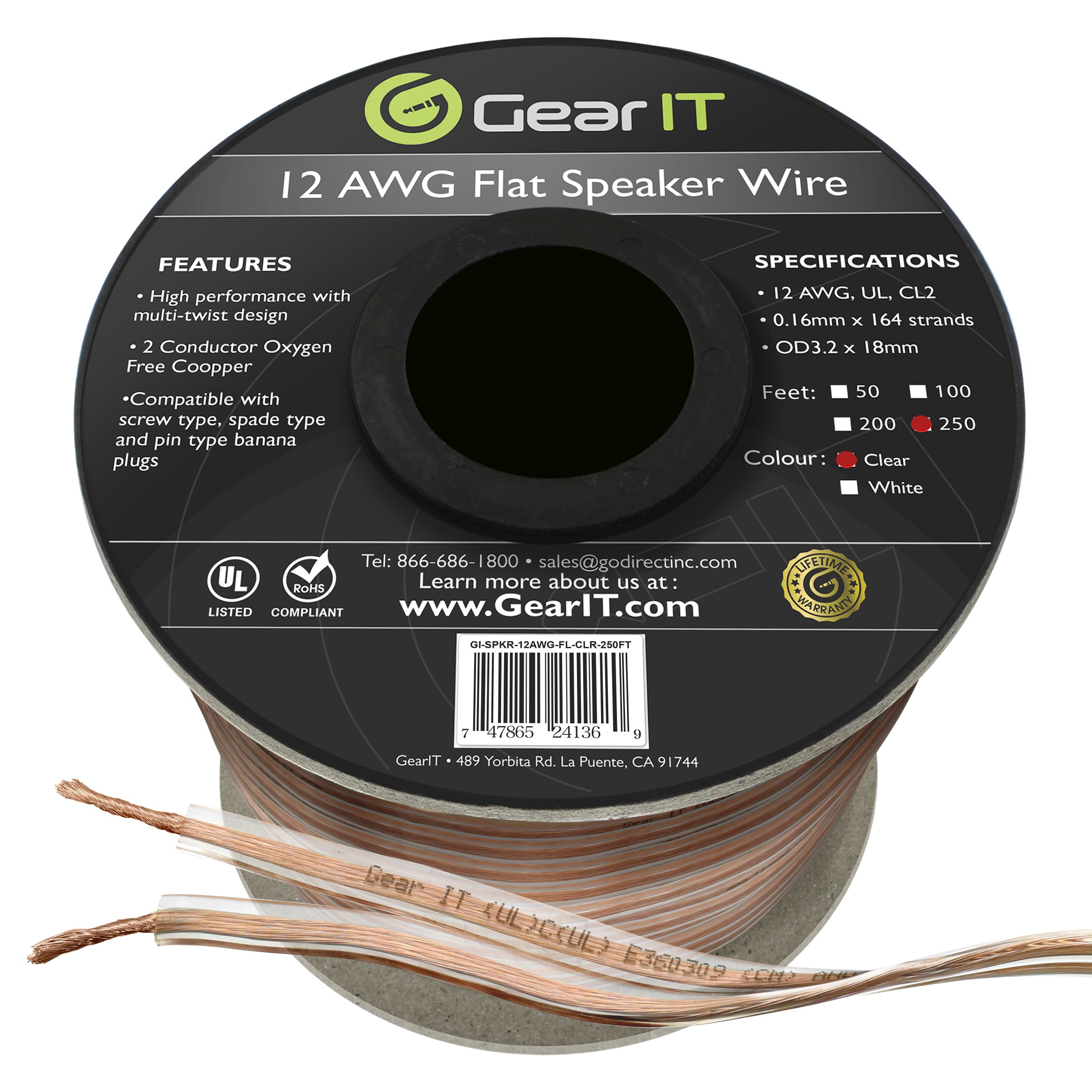 GearIT Elite Series 12AWG Flat Speaker Wire (250 Feet/76 Meters) - Oxygen Free Copper (OFC) CL2 Rated In-Wall Installation for Home Theater, Car Audio, and Outdoor Use, Clear by GearIT