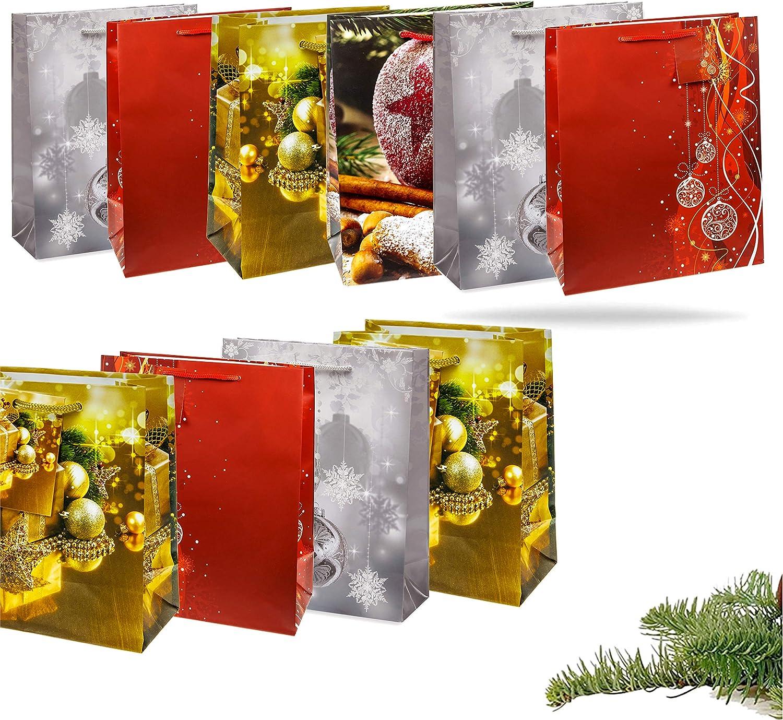 12x Xxl Weihnachtstaschen Weihnachten Geschenktüten Weihnachtstüte Geschenktaschen Für Geschenke 12x Geschenktüten Mix Classic Bürobedarf Schreibwaren