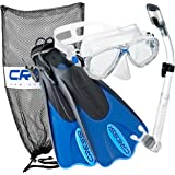 Cressi Palau Mask Fin Snorkel Set with Snorkeling Gear Bag, Designed in Italy (Blue, M/L | (Mens 7-10) (Womens 8-11))