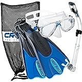 Cressi Palau Mask Fin Snorkel Set with Snorkeling Gear Bag, Blue, M/L | (Men's 7-10) (Women's 8-11)