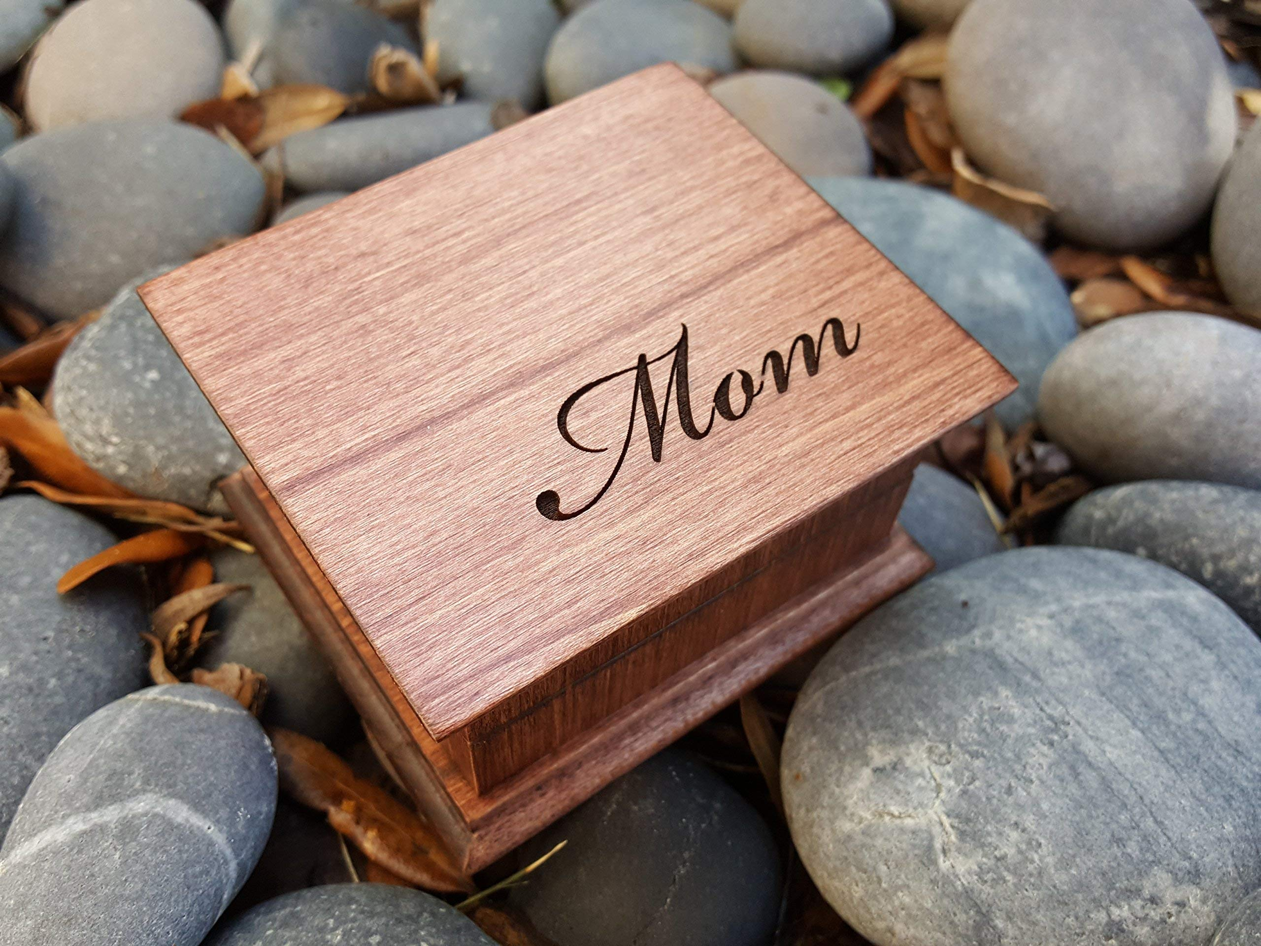 Custom made music box with Mom engraved on top, with your choice of color and song, great gift for Mother's day or birthday gift for mom