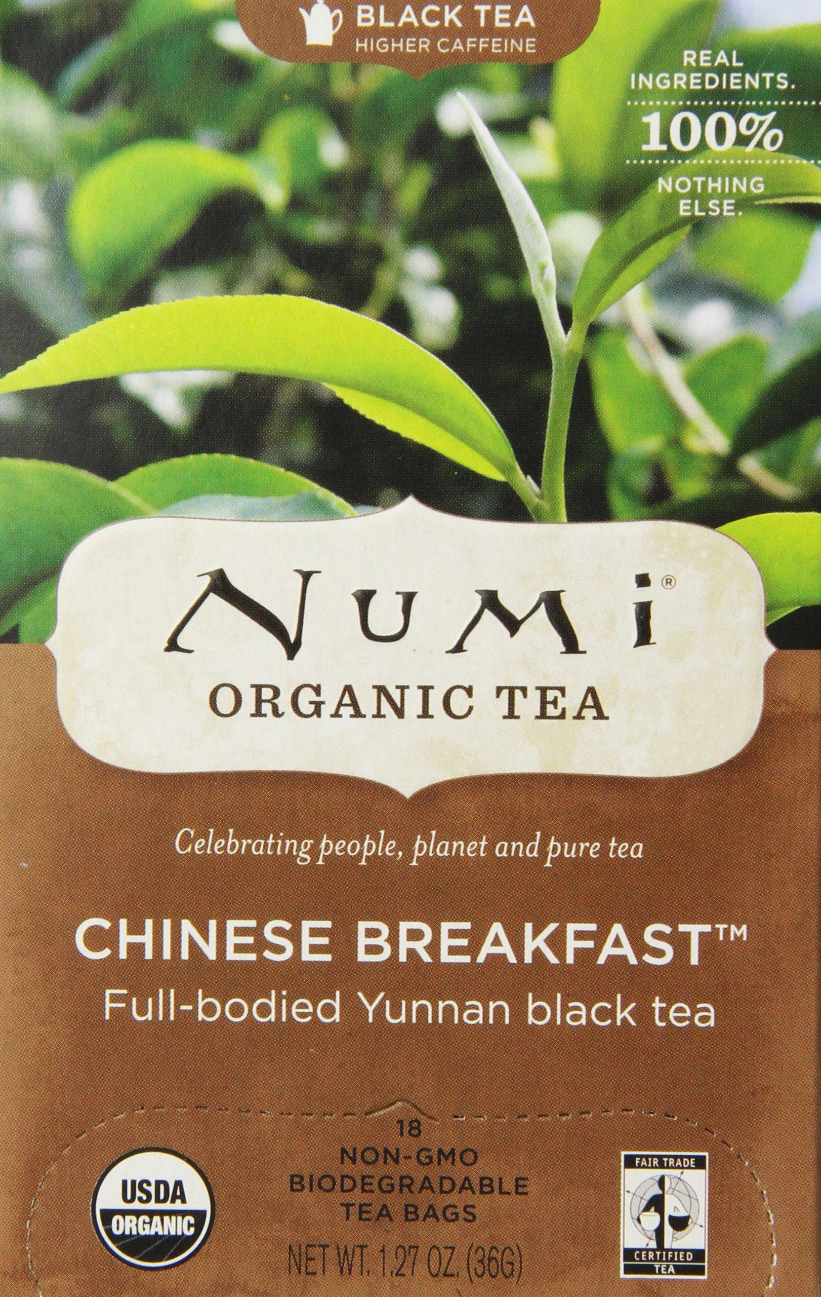 Numi Organic Tea Chinese Breakfast, Full Leaf Black Tea, 18 Count non-GMO Tea Bags