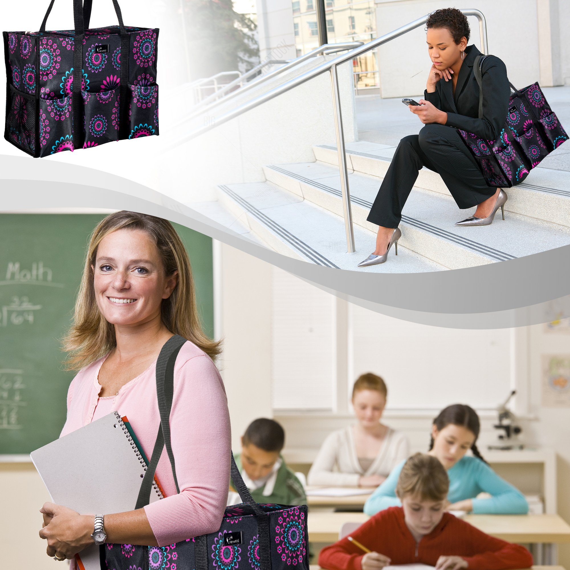 Pursetti Zip-Top Organizing Utility Tote Bag (Purple Circle_L) with Multiple Exterior & Interior Pockets for Working Women, Nurses, Teachers and Soccer Moms by Pursetti (Image #5)