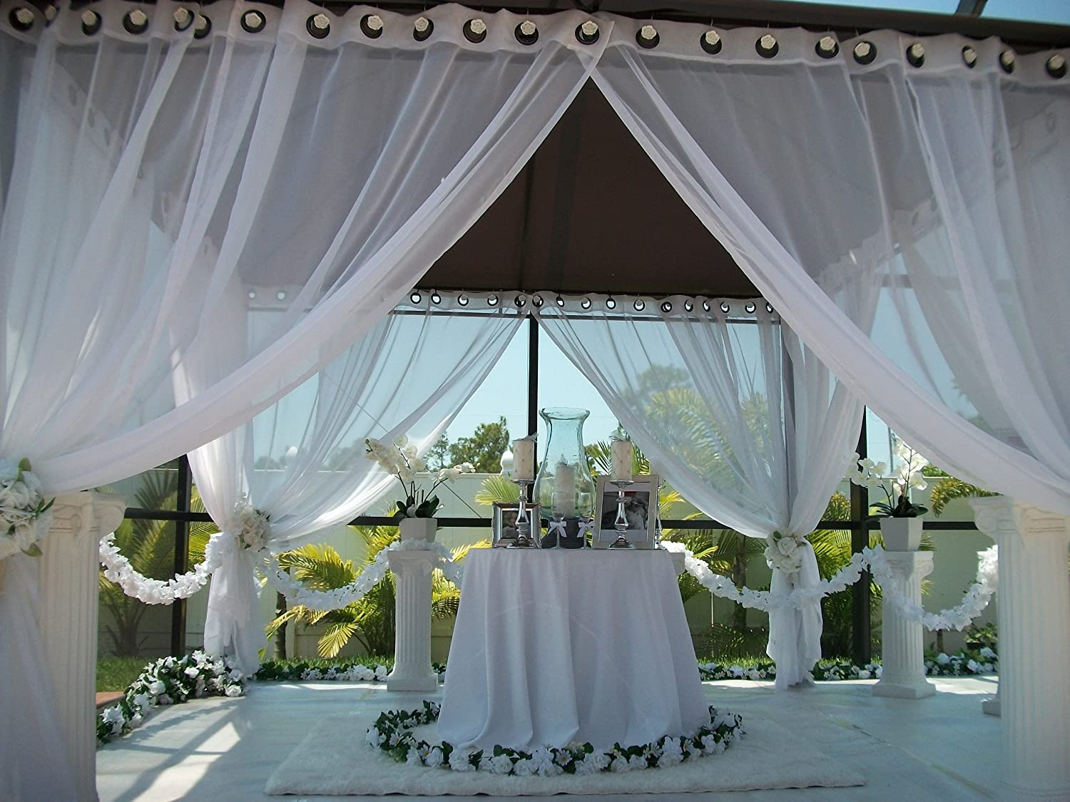 VIVIDX Outdoor Patios Curtains Canopy Gazebo Privacy Drapes Water /& Wind Repellent Courtyard Exterior Blackout Shade for Porch W55x39L